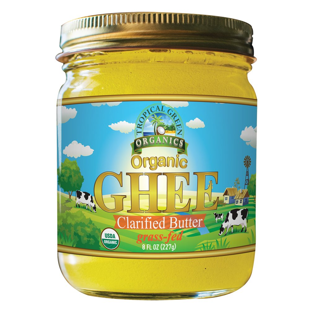 Organic Ghee Butter by Tropical Green Organics, 8 Ounce, Pasture Raised, Non-GMO, Lactose Free, Certified Organic
