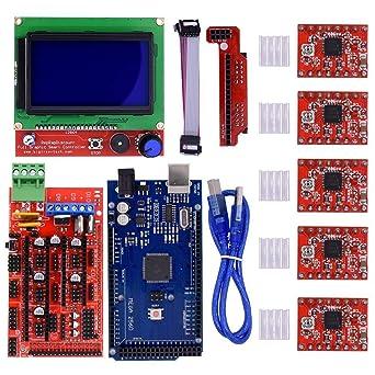 AiCheaX - Kit de impresora 3D CNC Mega 2560 R3 Reprap RAMPS 1.4 ...