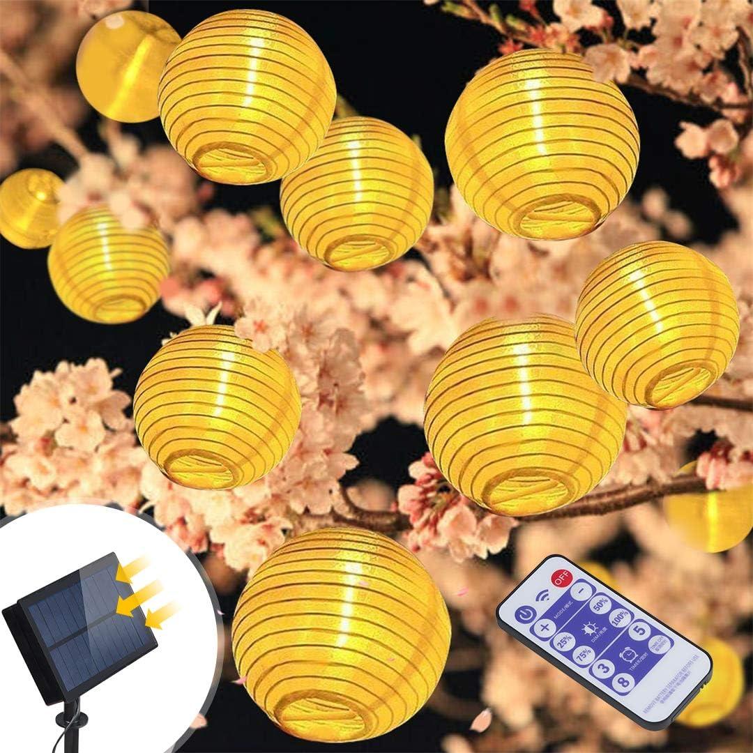 Balkon Hochzeit,Partys Solar Garten Lichterkette Dekorative Lampions Aussen 6M20 LED Solar Laternen Weihnachten Beleuchtung Gl/ühbirnen Au/ßen Warmwei/ß Hof f/ür Garten SILBER
