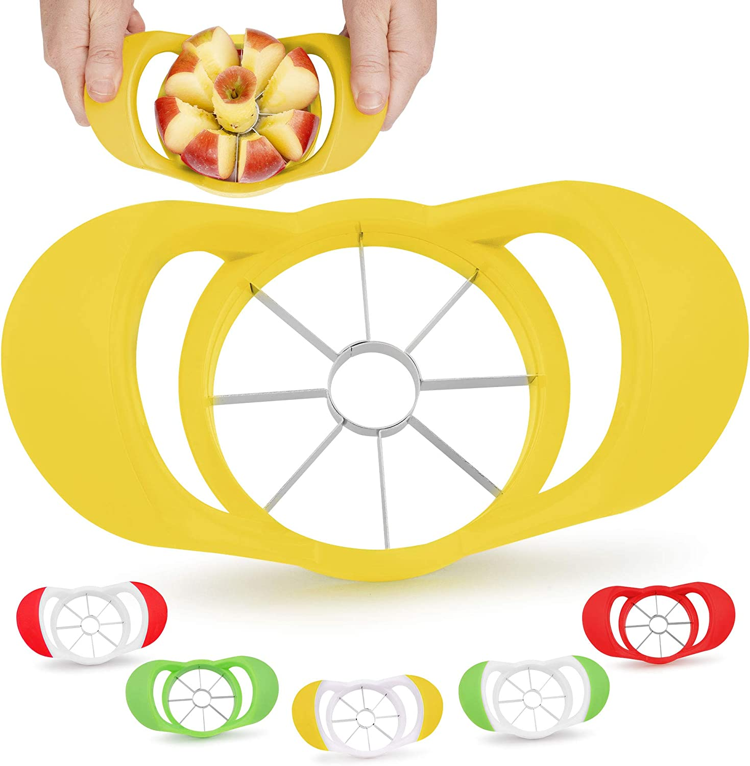 Zulay 8 Blade Apple Slicer - Easy Grip Apple Cutter With Stainless Steel Blades - Fast Usage Apple Corer And Slicer Tool That Saves Time & Effort (Yellow)