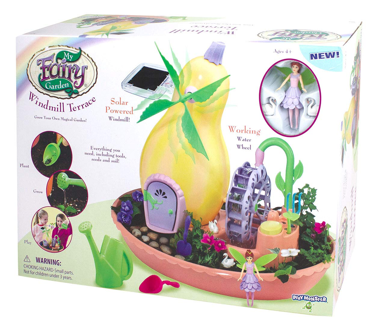 My Fairy 3665 Windmill Terrace Solar Power Playset - Grow Your Own Magical Garden, Yellow/Pink/Green/Purple