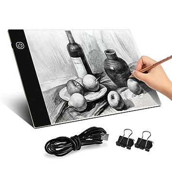 BROTOU Mesa de Luz Dibujo A4,Tableta de Luz,3.5 mm Super Delgado y Brillo Ajustable con cable USB para Pintar, Dibujar, Artesanía,Bocetos, Pintura ...