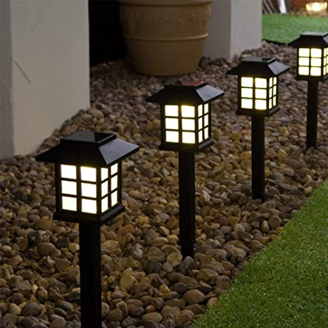 Behavetw - Farol Solar para jardín con luz LED Cuadrada Blanca para Exteriores: Amazon.es: Deportes y aire libre