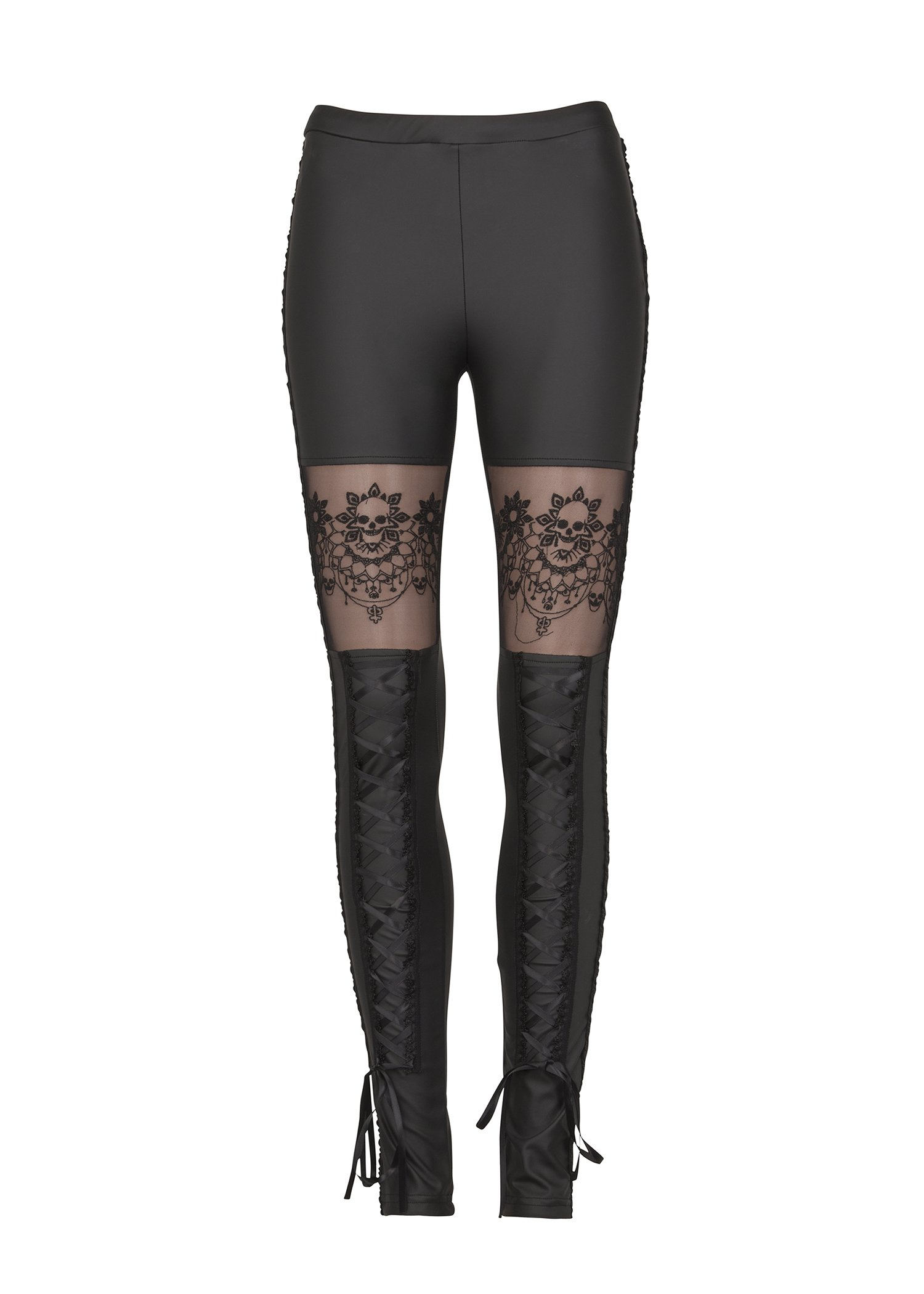 Womens Punk Rave Victorian Style Skull Faux Leather Leggings with Lace – Size X-Large