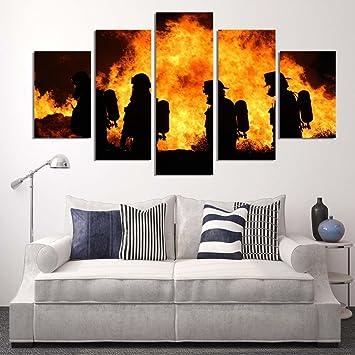 LA VIE 5 Teilig Wandbild Gemälde Hochwertiger Feuerwehr Leinwand ...