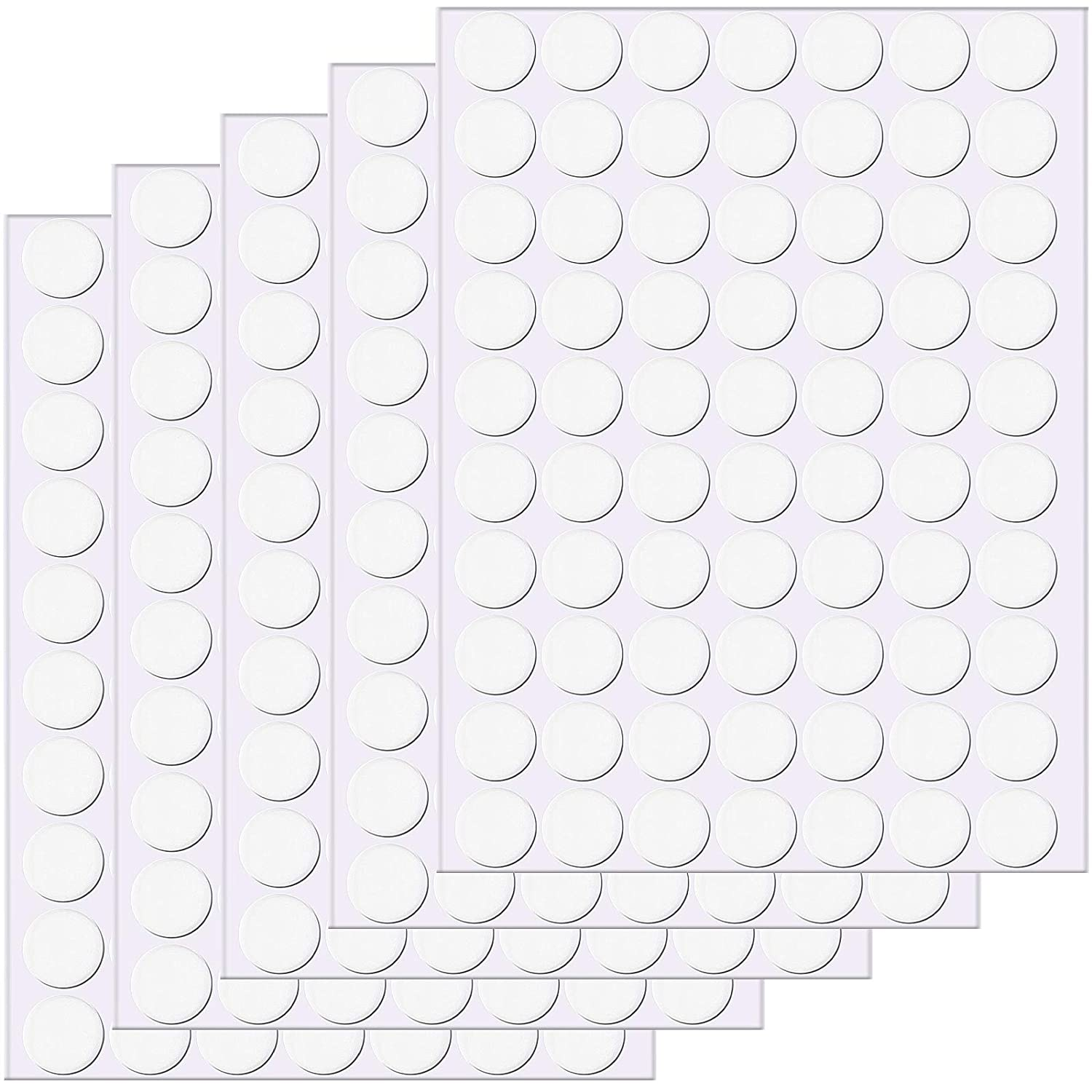 Clear Sticky Tack Removable Round Putty Reusable Transparent Double-Sided Round No Traces Adhesive Sticker for Christmas Festival Decoration, Metal, Glass, Wall, Ceramic, Wood (350 Pieces,20 mm)