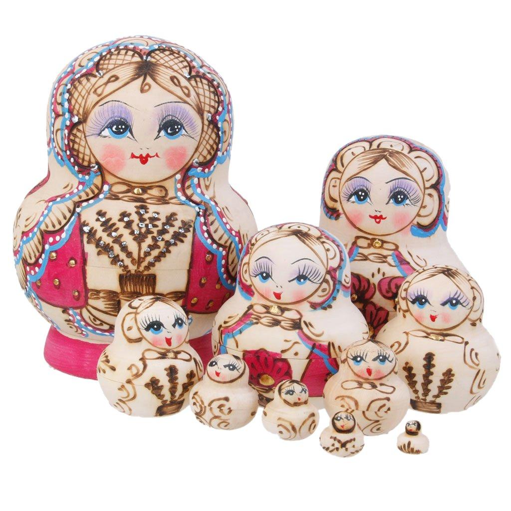 10pcs Juguetes de Muñecas Rusas Pintado a Mano Pequeña Árboles de Madera Matryoshka Generic