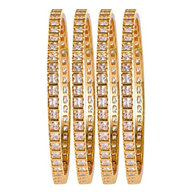 a1283e18d1e AFJ Gold 1 Gram Gold Plated Traditional Designer Ruby Emerald CZ American  Diamond Stone Bangles Sets