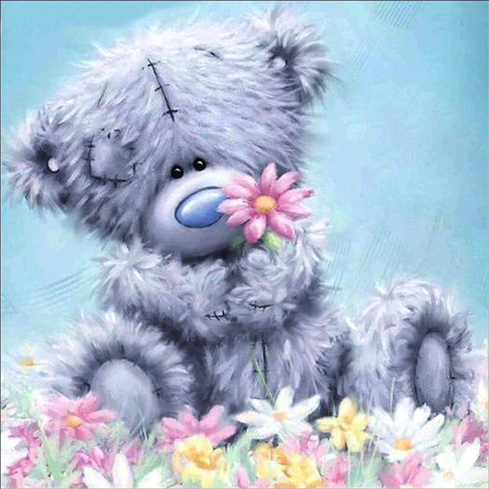 Cute Sweet Pudding Bear Play with Flower Diamond Painting Kits Full Drill,uBabamama DIY 5D diamond painting Kits Rhinestone Crystal Embroidery Pictures Cross Stitch Art Craft Decor for Home 11.8X11.8 In