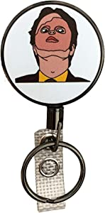 Balanced Co. Dwight Schrute Heavy Duty Retractable Badge Holder Reel, Metal ID Badge Holder with Belt Clip Key Ring for Name Card Keychain (Mask)