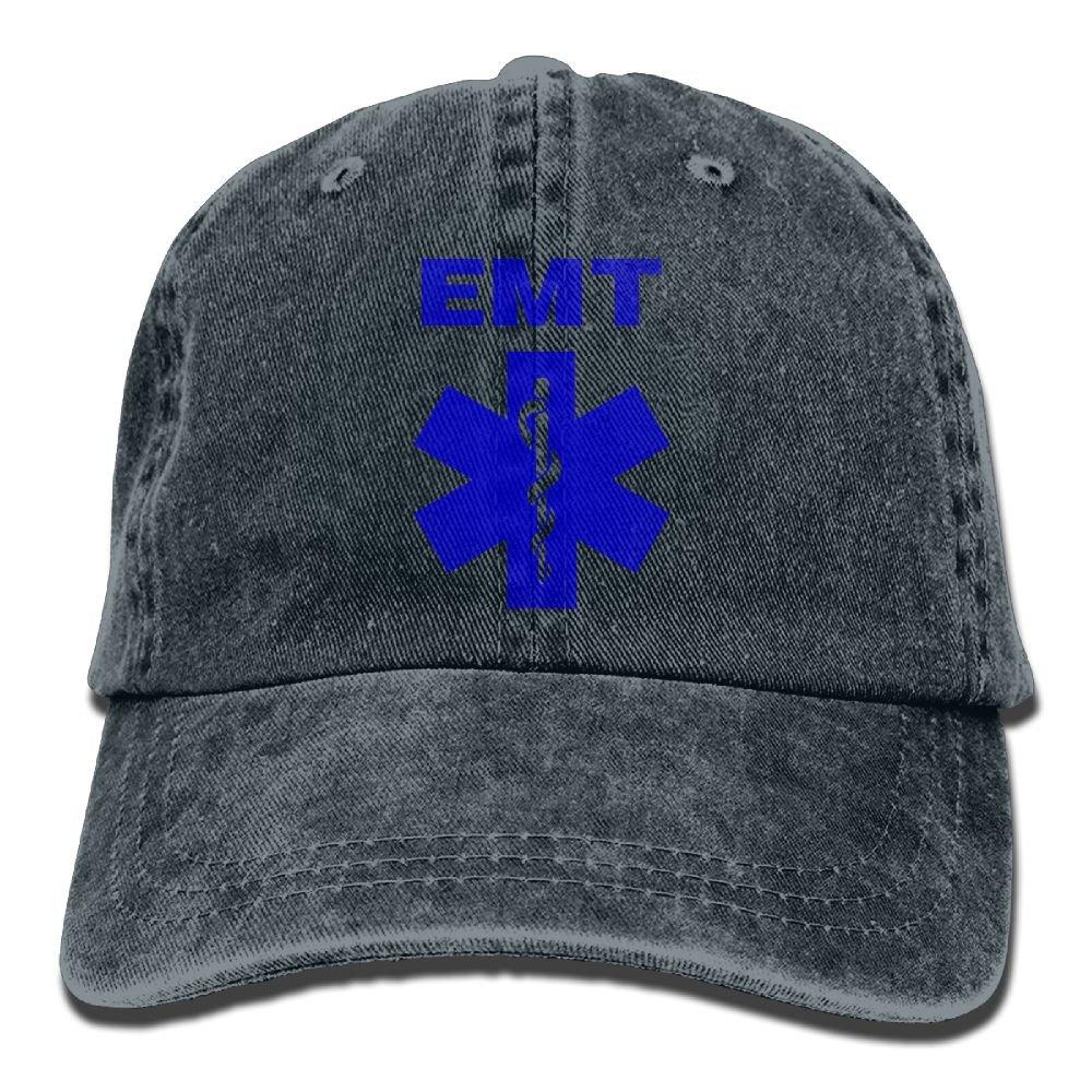 Emergency Medical Technician Plain Adjustable Cowboy Cap Denim Hat for Women and Men