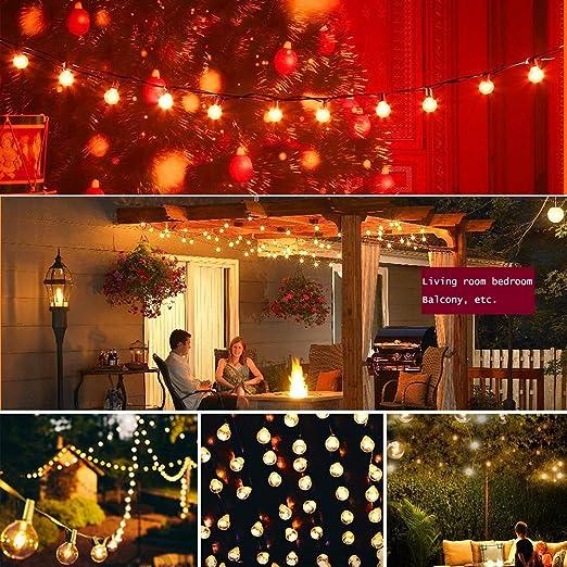 ZJWZ Cadena de luz al Aire Libre de Navidad, 8 Metros, 25 Bombillas, jardín, Luces de Cadena, Bodas, Banquetes de Vacaciones, Mirador, Decoraciones de jardín, Decoraciones de Navidad.: Amazon.es: Hogar