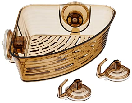 Amazon Brand - Solimo 3-Piece Suction Set (1 Corner Bathroom Rack/Shelf, 2 Wall Hooks)