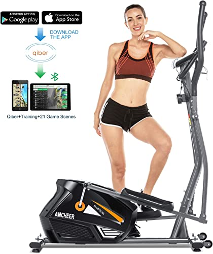 ANCHEER Elliptical Machine Elliptical Trainer Exercise Machine with LCD Monitor, Pulse and APP Control, Magnetic Upgraded Top Elliptical Machine Trainer