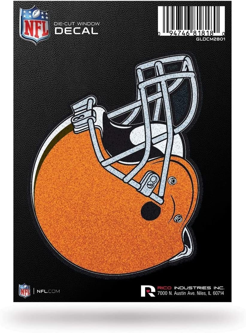 Rico Industries NFL Cleveland Browns Bling Die Cut Window Decal with Glitter Accent