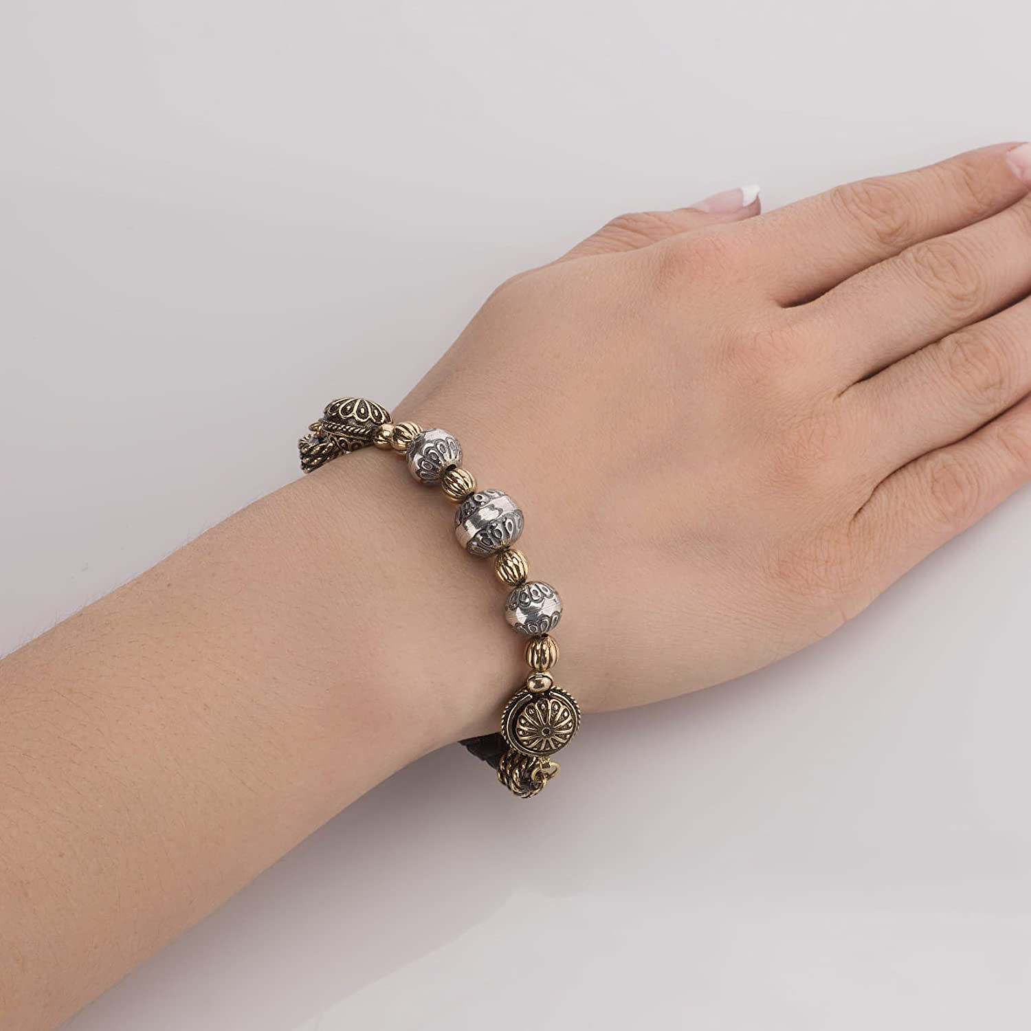 M or L Sterling Silver and Brass Native Pearl Beaded Leather Magnetic Clasp Bracelet Size S