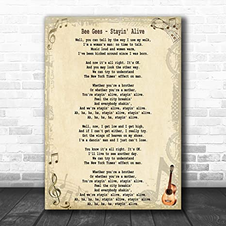 Amazon Com Stayin Alive Song Lyric Art Music Quote Gift Poster Print Office Products