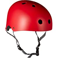 Krown Red Shell with Gray Strap Skateboard Helmet, One Size