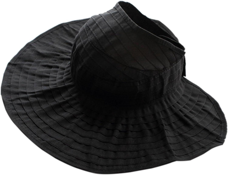 Elonglin Femme Chapeau de Soleil Anti-UV Pilable Bord Large Chapeau de Plage Taille R/églable avec Velcro pour Voyager Randonn/ée en Toile