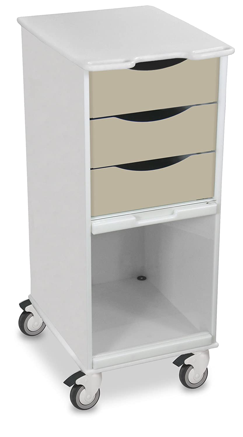 """TrippNT 51178 Polyethylene Core SP Space Saving Locking Lab Cart with Clear PETG Door, 15"""" Width, 35"""" Height x 19"""" Depth, Almond Beige and White"""
