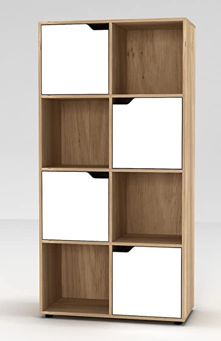 Estantería de URBNLIVING, de madera, con forma cúbica, con puertas , madera, Oak Bookcase and White Door, 8 Cube