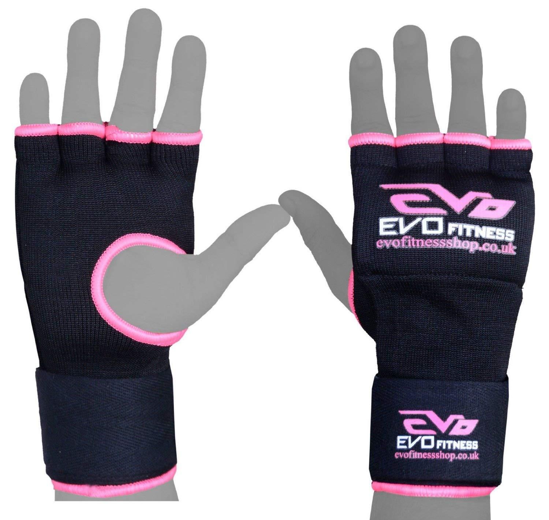 Evo Damen Rosa Elastisch Gel Handschuhe Boxen Handgelenkbandagen St/ütze Riemen MMA Tasche Innen Handschuhe