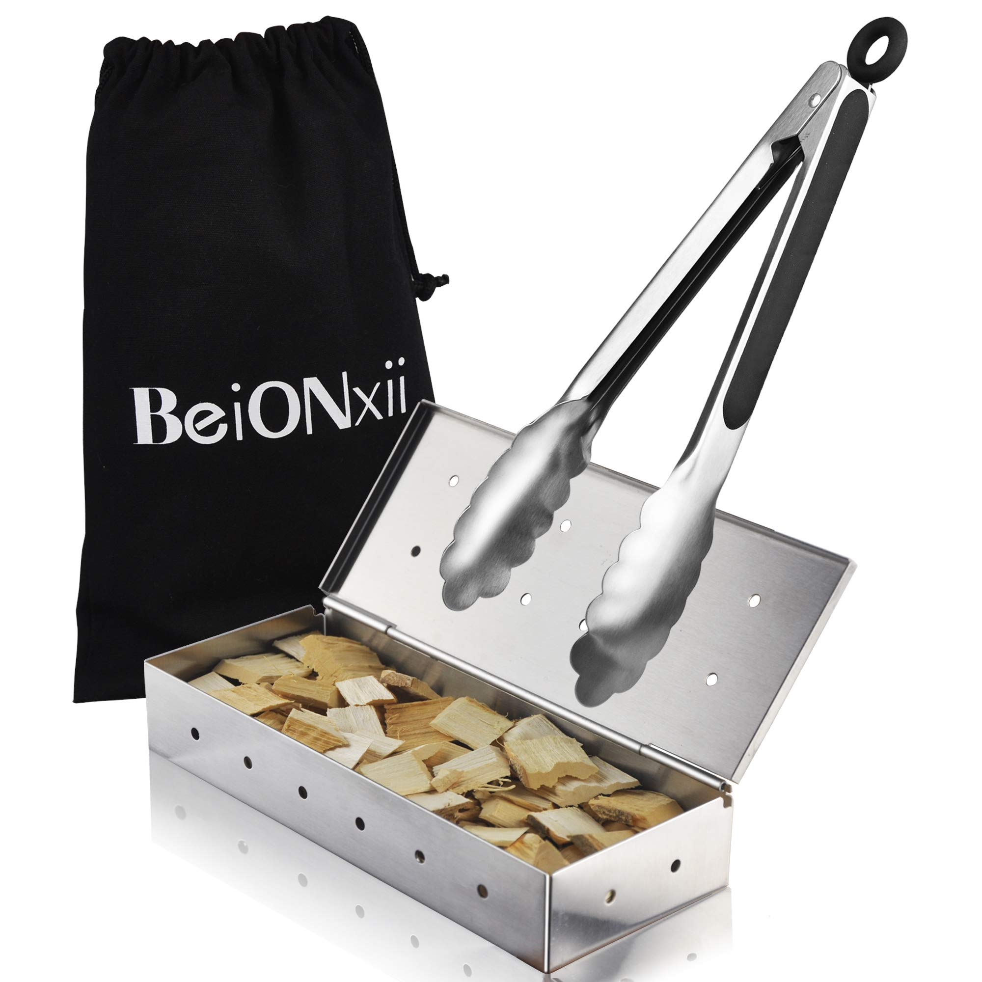 Smoker Box for Gas Grill - Beionxii Charcoal Electric Grill with Tongs Wood Chip BBQ Heavy Duty Stainless Steel Smoker Box Grilling Accessories for Barbecue Meat Smoking Gifts for Man Dishwasher Safe by Beionxii