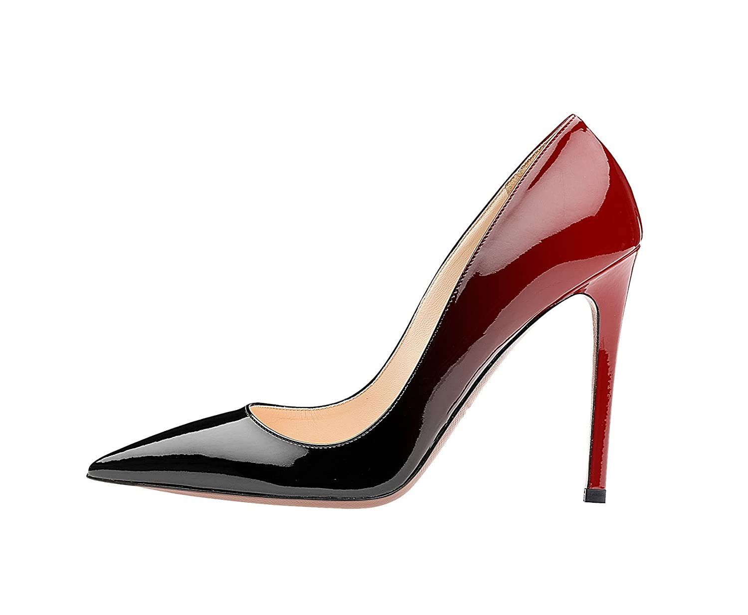 SexyPrey Women's Pointy Toe Stiletto Shoes Formal Office Evening Pumps B074M4G9RN 10 B(M) US|Black and Red