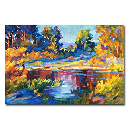 Reflections on a Quiet Lake by David Lloyd Glover, 30×47-Inch Canvas Wall Art