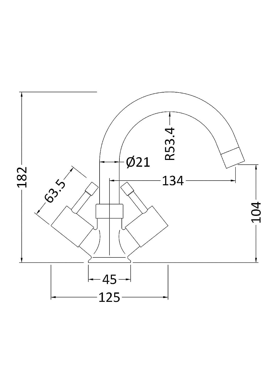 Set of 2 Pieces Chrome Nuie FJ315 Series 2 Modern Bathroom Mono Basin Mixer and Free Pop Up Waste