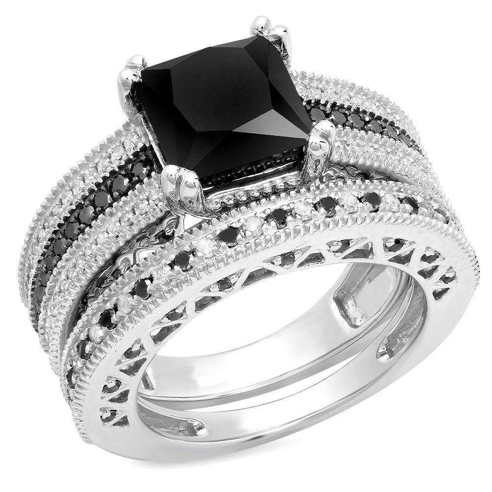 4.75 Carat (ctw) Sterling Silver Black & White Diamond Ladies Bridal Engagement Ring Set (Size 7)