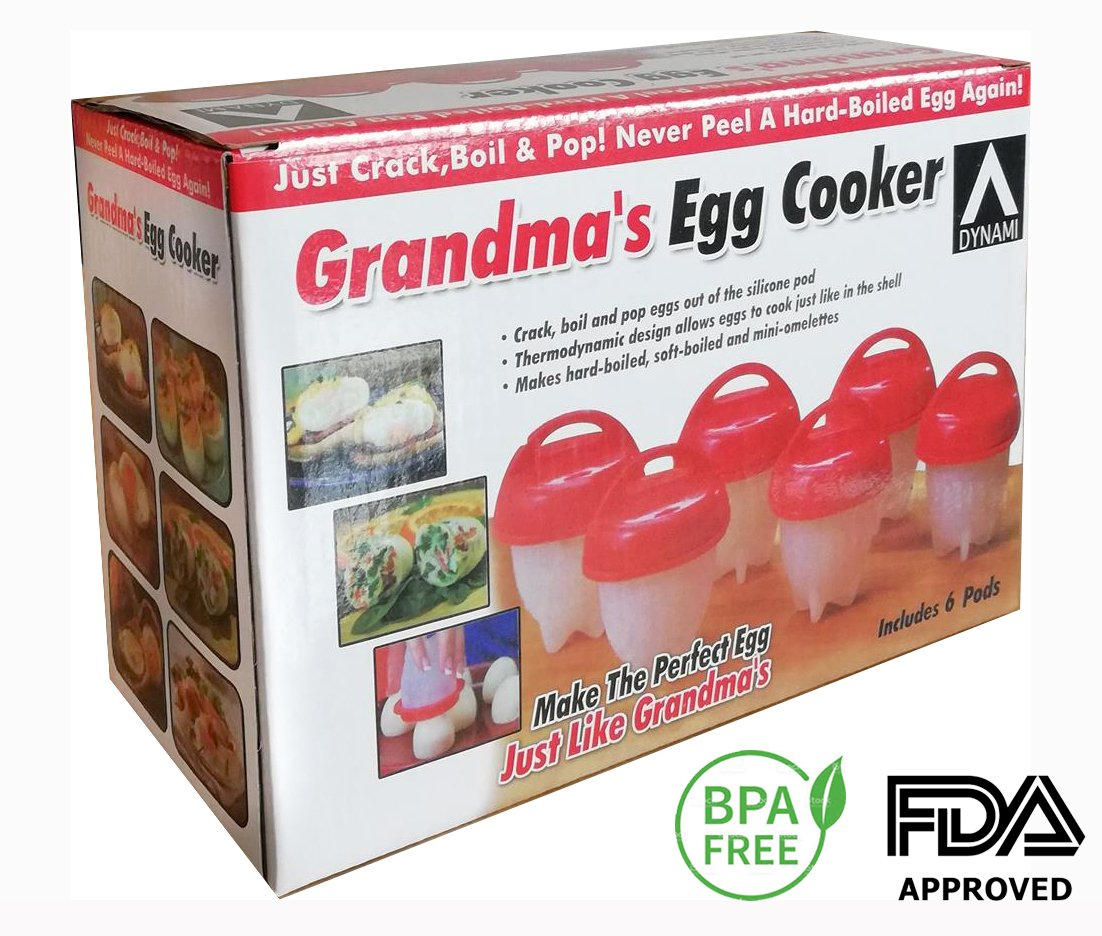 Grandma's Egg Cooker - Mess Free Hard Boiled Eggs & Soft Boiled Eggs Without The Shell - Hard Boiled Egg Whites - Egg Poaching Cups - Healthy Snack To Guide Weight Loss - Silicone BPA Free Dynami