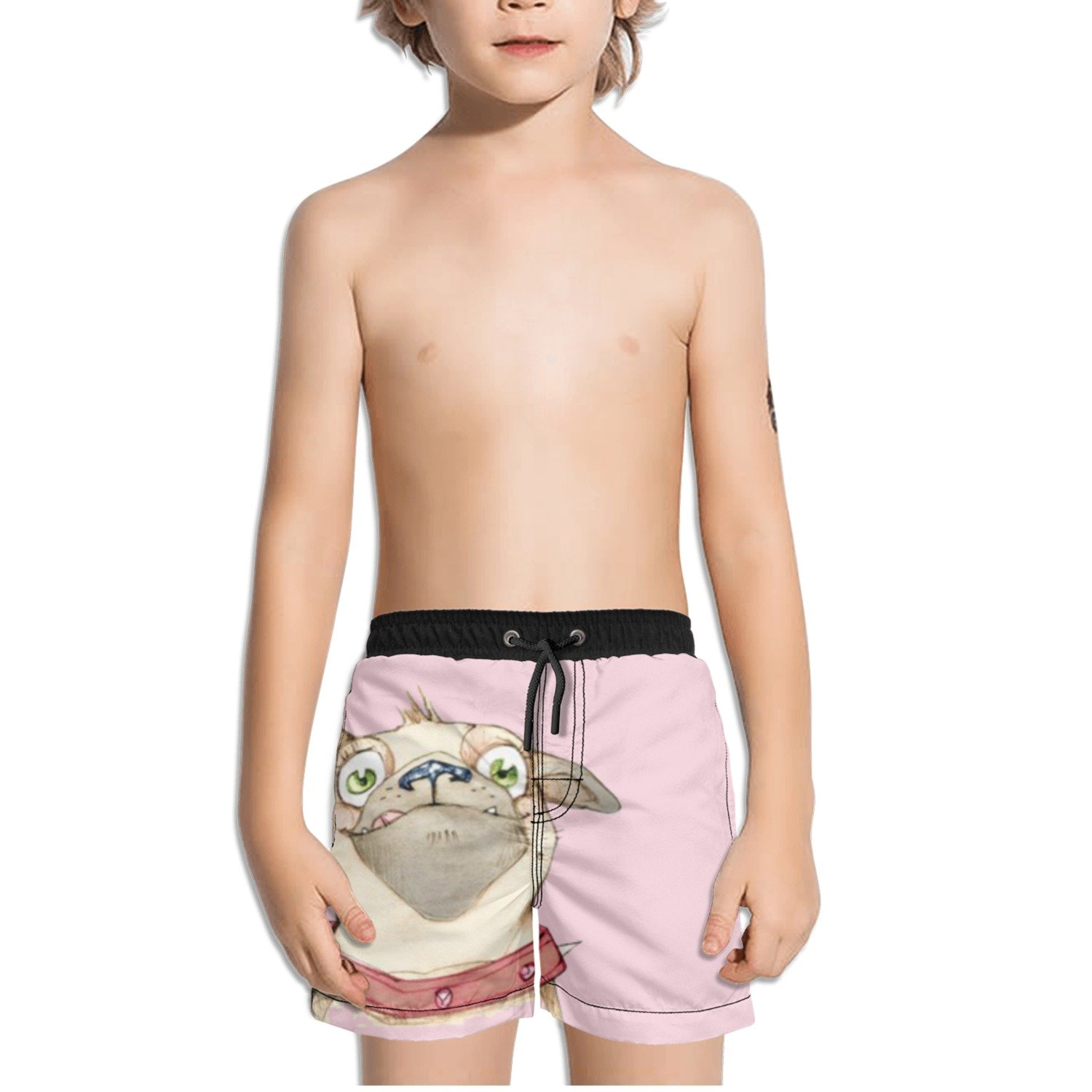 Juliuse Marthar Pug Gifts Pink Swim Trunks Quick Dry Beach Board Shorts for Boys