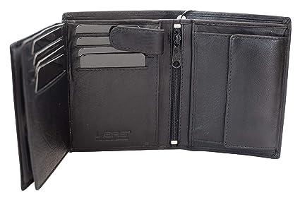 Biker Geldbeutel Portemonnaie Portmonee mit Kette LEAS in Echt-Leder schwarz