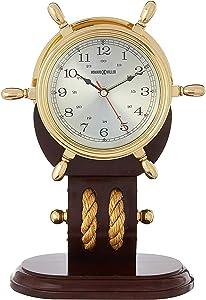 Howard Miller Britannia Table Clock 613-467 – Weather & Maritime Solid Brass Ship's Wheel Decor with Mahogany Base, Quartz Movement