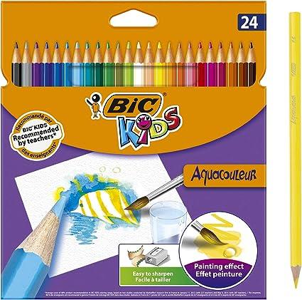 Oferta amazon: BIC Kids Aquacouleur Lápices Acuarelables Efecto Pintura - colores Surtidos, Blíster de 24 unidades