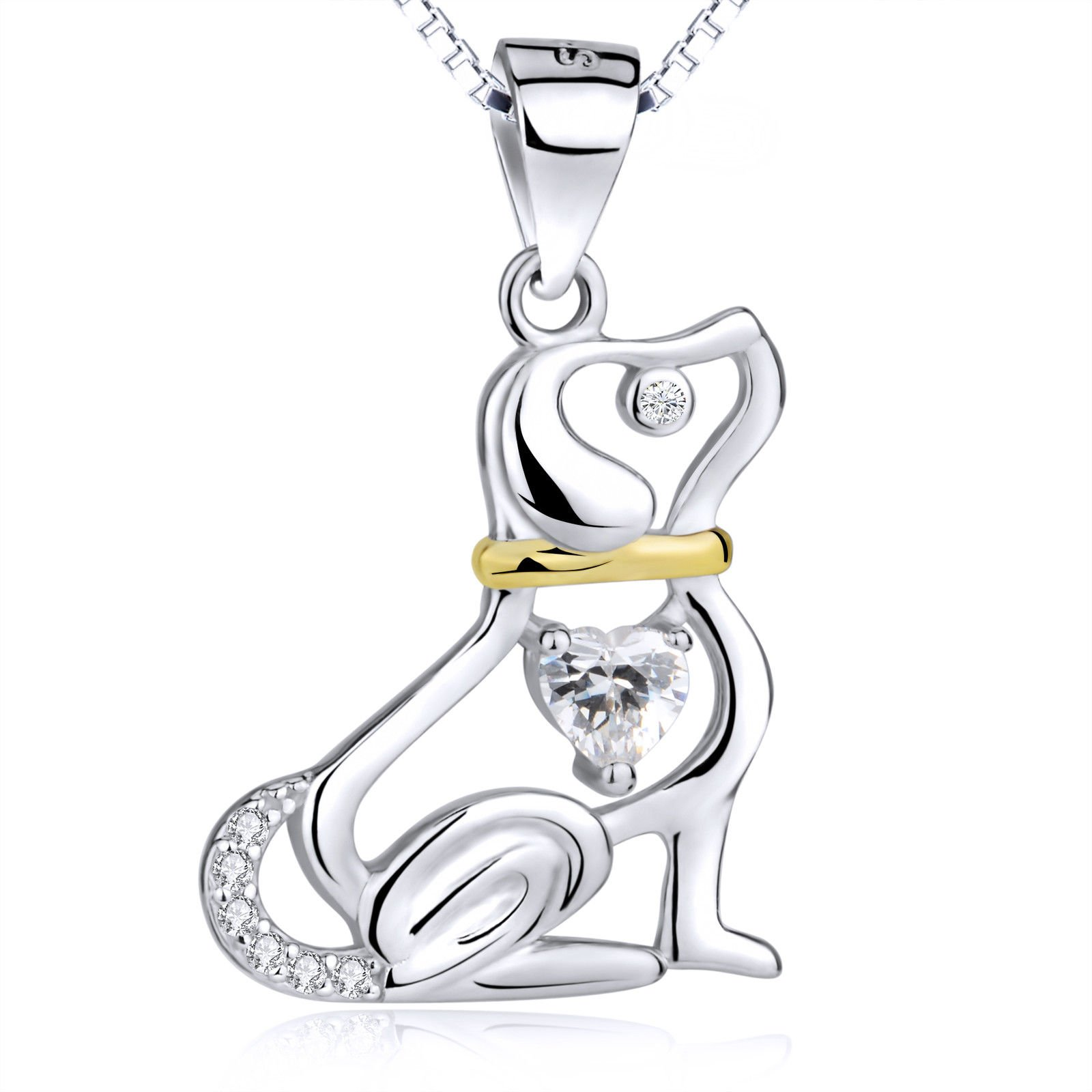 925 Sterling Silver Cute Beagle Puppy Necklaces Crystal CZ Charm Pet Dog Pendant