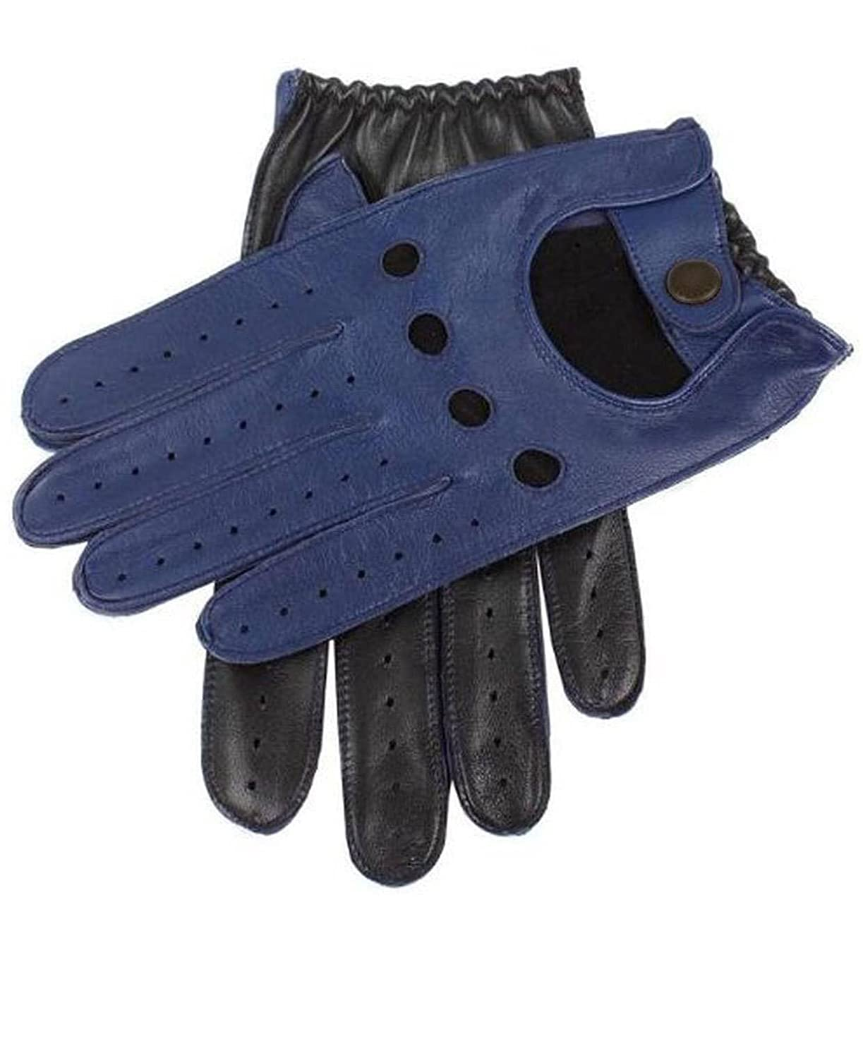Mens Two-Tone Unlined Leather Driving Gloves in Blue and Black