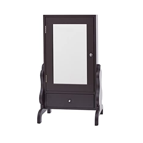 InnerSpace Luxury Products Tabletop Mirror With Jewelry Storage   Espresso