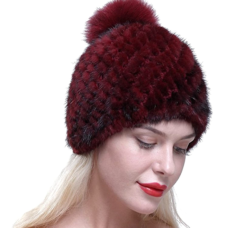 4f294f455 Real Knit Mink Fur Hat Natural Rabbit Fur Pom Beanie Winter Warm Cap (A  Burgundy) at Amazon Women's Clothing store: