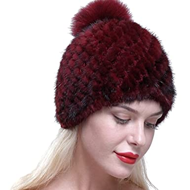 735001e7256c6 Real Knit Mink Fur Hat Natural Rabbit Fur Pom Beanie Winter Warm Cap (A  Burgundy) at Amazon Women s Clothing store