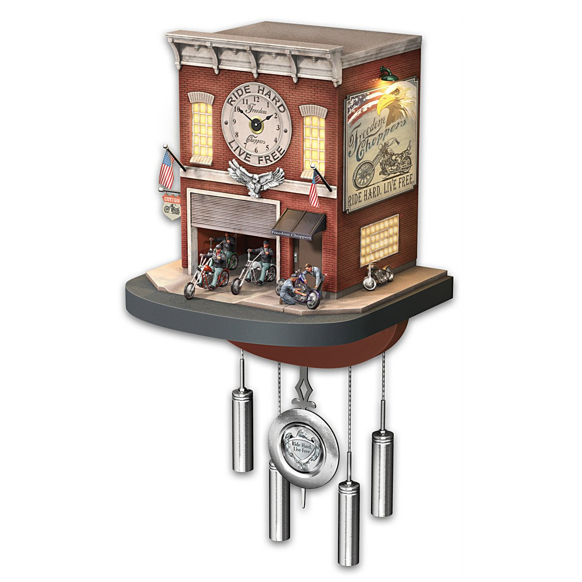 Cuckoo Clock With Lights, Sound, Motion: Freedom Choppers Motorcycle Garage - By The Bradford Exchange by Bradford Exchange