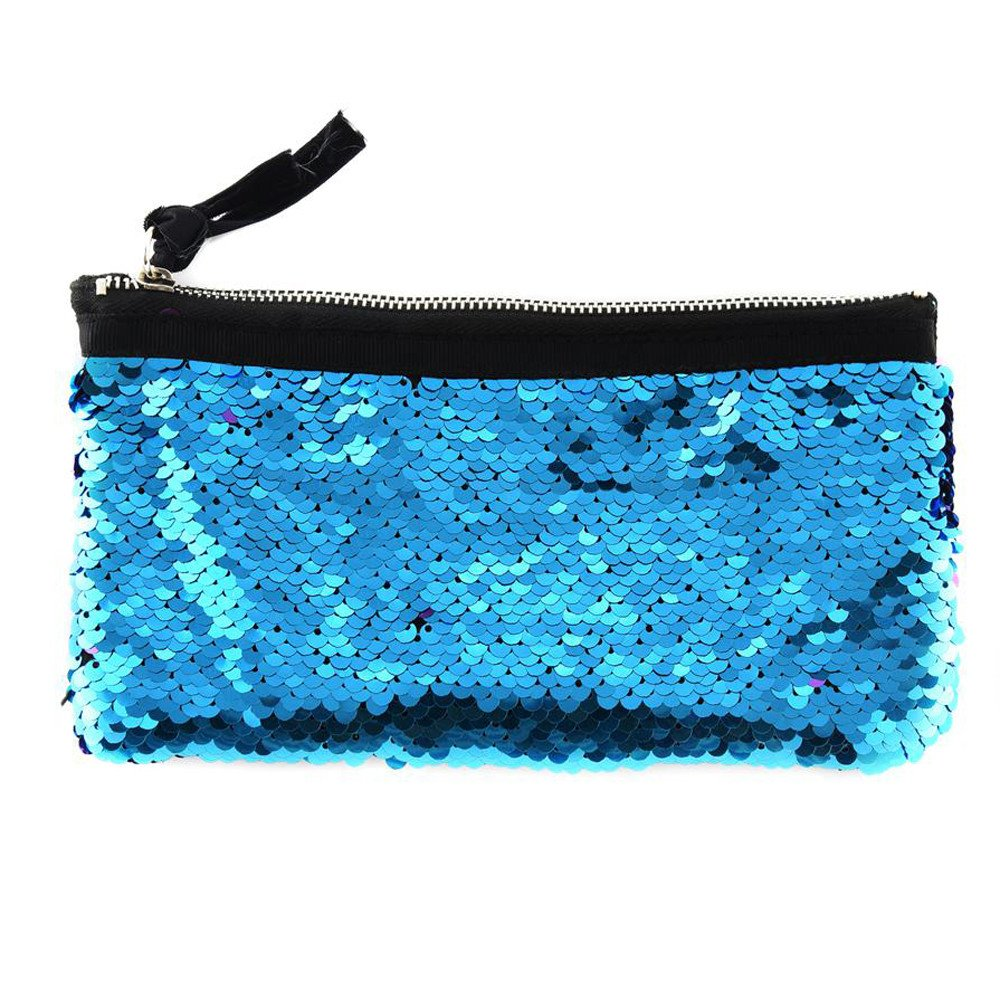 Clearance! Women Make-up Bag Double Color Sequins Coin Cards Holder Purse Wallet Pencil Pouch (K)