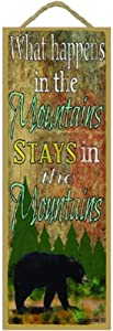 "What Happens in The Mountains Stays in Mountains Black Bear 15""x5"" Cabin Lodge Sign"