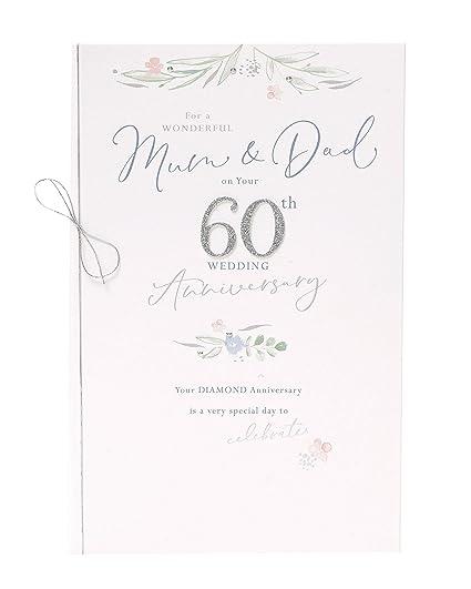 Biglietti Di Anniversario Di Matrimonio.Biglietto Per 60 Anniversario Di Mamma E Papa Regalo Per 60