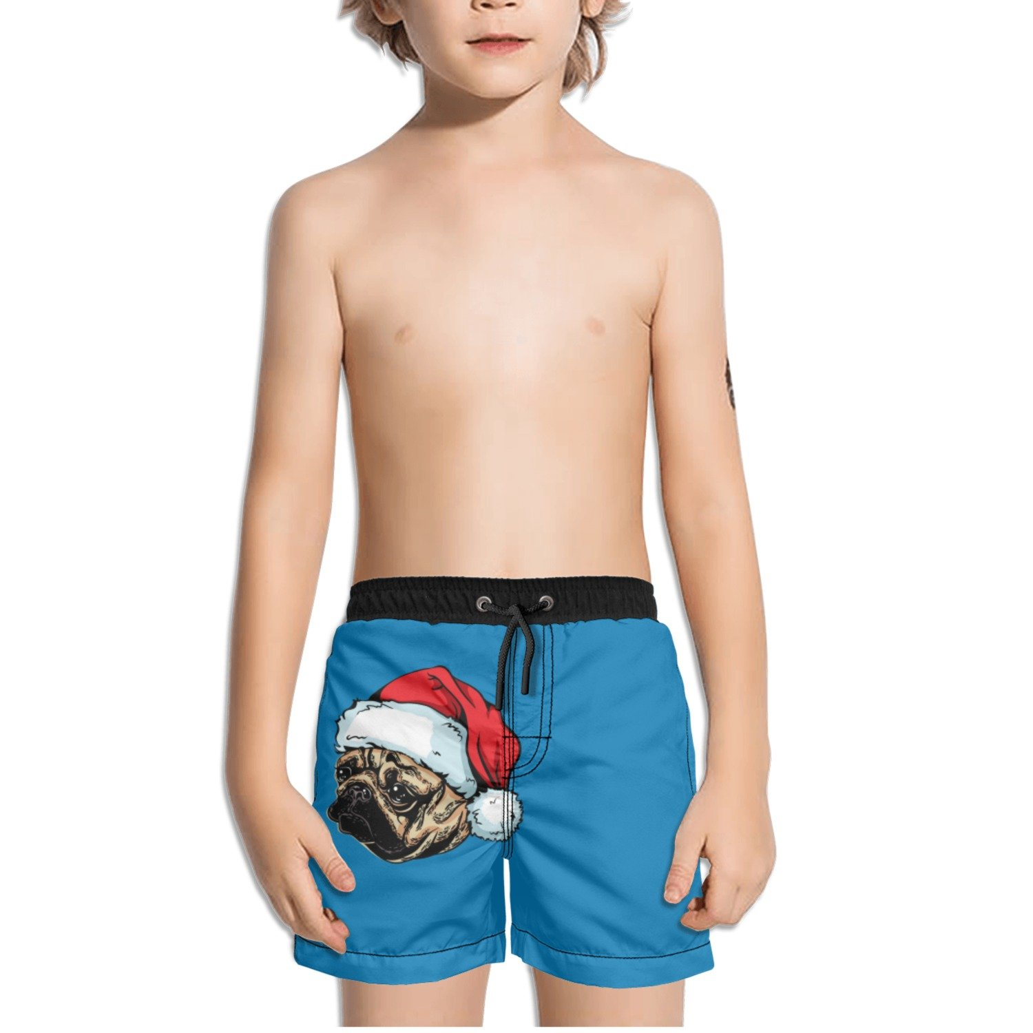 Juliuse Marthar Pug Gifts in Hat Merry Christmas Blue Swim Trunks Quick Dry Beach Board Shorts for Boys