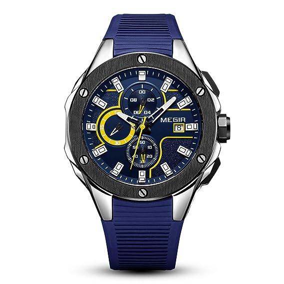 Reloj deportivo multifunción cronógrafo correa de silicona movimiento cuarzo relojes militares caja de regalo para hombres y niños: Amazon.es: Relojes
