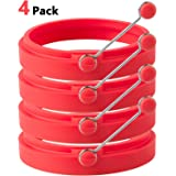 HOMIEHOME Nonstick Silicone Egg Rings Pancake Mold 4 Pack - Red