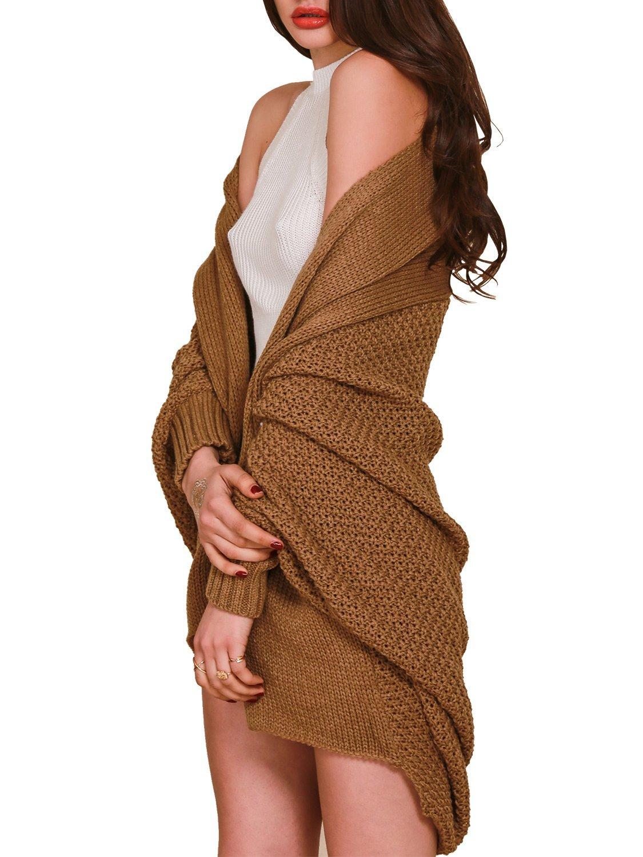 Berrygo Women's Loose Knitted Cardigan Batwing Sleeve Sweater Fashion Winter, Khaki, 4/14