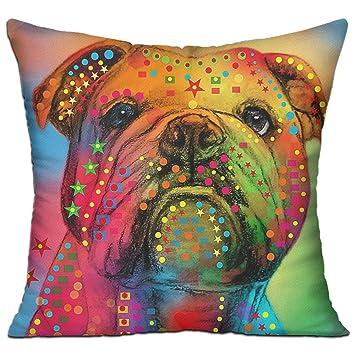 Amazon.com: CY tienda Bulldog Inglés Arte Digital cuadrado ...